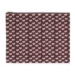 Chocolate Pink Hearts Gift Wrap Cosmetic Bag (xl) by Mariart