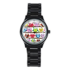 Funny Owls Sitting On A Branch Pattern Postcard Rainbow Stainless Steel Round Watch by Mariart