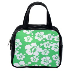 Hibiscus Flowers Green White Hawaiian Classic Handbags (one Side) by Mariart