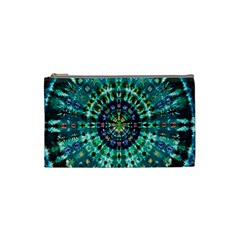 Peacock Throne Flower Green Tie Dye Kaleidoscope Opaque Color Cosmetic Bag (small)  by Mariart