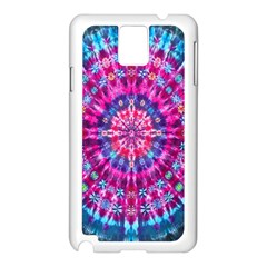 Red Blue Tie Dye Kaleidoscope Opaque Color Circle Samsung Galaxy Note 3 N9005 Case (white) by Mariart