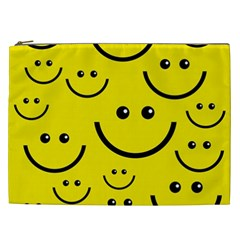 Digitally Created Yellow Happy Smile  Face Wallpaper Cosmetic Bag (xxl)  by BangZart