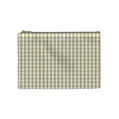 Christmas Gold Large Gingham Check Plaid Pattern Cosmetic Bag (medium)  by PodArtist