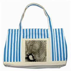 Fragmented Fractal Memories And Gunpowder Glass Striped Blue Tote Bag by jayaprime