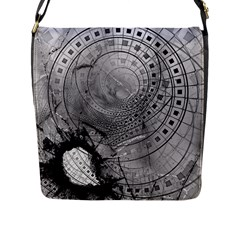 Fragmented Fractal Memories And Gunpowder Glass Flap Messenger Bag (l)  by jayaprime