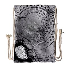 Fragmented Fractal Memories And Gunpowder Glass Drawstring Bag (large) by jayaprime