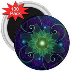 Glowing Blue-green Fractal Lotus Lily Pad Pond 3  Magnets (100 Pack) by jayaprime