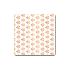 Geometric Losangle Pattern Rosy Square Magnet by paulaoliveiradesign