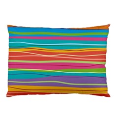 Colorful Horizontal Lines Background Pillow Case by TastefulDesigns