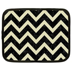 Chevron9 Black Marble & Beige Linen Netbook Case (xl)  by trendistuff
