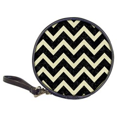 Chevron9 Black Marble & Beige Linen Classic 20 Cd Wallets by trendistuff