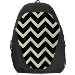 Chevron9 Black Marble & Beige Linen Backpack Bag by trendistuff