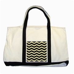 Chevron3 Black Marble & Beige Linen Two Tone Tote Bag by trendistuff