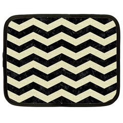 Chevron3 Black Marble & Beige Linen Netbook Case (large) by trendistuff