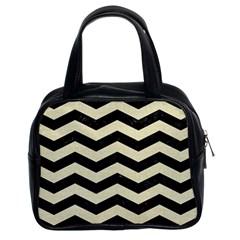 Chevron3 Black Marble & Beige Linen Classic Handbags (2 Sides) by trendistuff