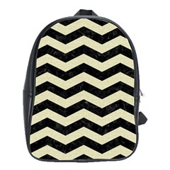 Chevron3 Black Marble & Beige Linen School Bags(large)  by trendistuff