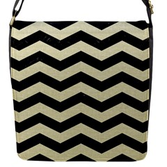 Chevron3 Black Marble & Beige Linen Flap Messenger Bag (s) by trendistuff
