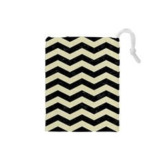 Chevron3 Black Marble & Beige Linen Drawstring Pouches (small)  by trendistuff