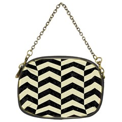 Chevron2 Black Marble & Beige Linen Chain Purses (two Sides)  by trendistuff