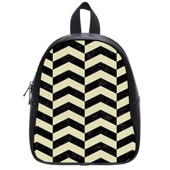 Chevron2 Black Marble & Beige Linen School Bags (small)  by trendistuff