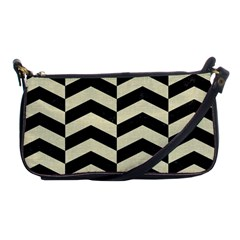 Chevron2 Black Marble & Beige Linen Shoulder Clutch Bags by trendistuff