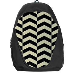 Chevron2 Black Marble & Beige Linen Backpack Bag by trendistuff