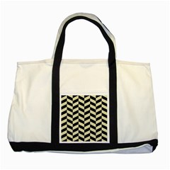 Chevron1 Black Marble & Beige Linen Two Tone Tote Bag by trendistuff