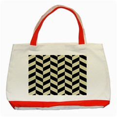 Chevron1 Black Marble & Beige Linen Classic Tote Bag (red) by trendistuff