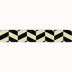 Chevron1 Black Marble & Beige Linen Small Bar Mats by trendistuff