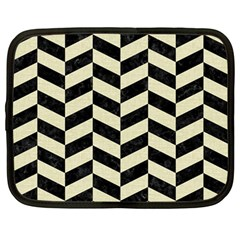 Chevron1 Black Marble & Beige Linen Netbook Case (large) by trendistuff