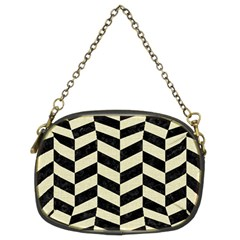 Chevron1 Black Marble & Beige Linen Chain Purses (two Sides)  by trendistuff