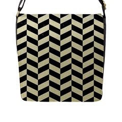 Chevron1 Black Marble & Beige Linen Flap Messenger Bag (l)  by trendistuff