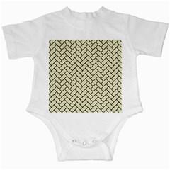 Brick2 Black Marble & Beige Linen (r) Infant Creepers by trendistuff