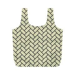 Brick2 Black Marble & Beige Linen (r) Full Print Recycle Bags (m)  by trendistuff