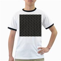 Brick2 Black Marble & Beige Linen Ringer T Shirts by trendistuff