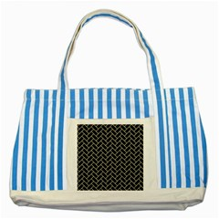 Brick2 Black Marble & Beige Linen Striped Blue Tote Bag by trendistuff