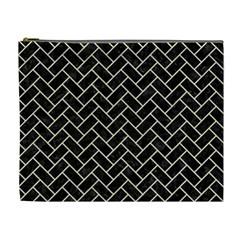 Brick2 Black Marble & Beige Linen Cosmetic Bag (xl) by trendistuff