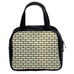Brick1 Black Marble & Beige Linen (r) Classic Handbags (2 Sides) by trendistuff