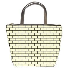 Brick1 Black Marble & Beige Linen (r) Bucket Bags by trendistuff