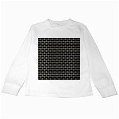 Brick1 Black Marble & Beige Linen Kids Long Sleeve T Shirts by trendistuff
