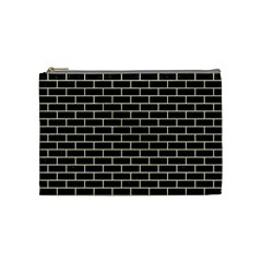 Brick1 Black Marble & Beige Linen Cosmetic Bag (medium)  by trendistuff