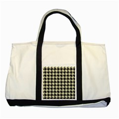 Houndstooth2 Black Marble & Beige Linen Two Tone Tote Bag by trendistuff