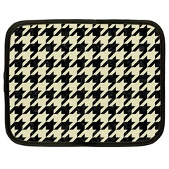 Houndstooth2 Black Marble & Beige Linen Netbook Case (large) by trendistuff