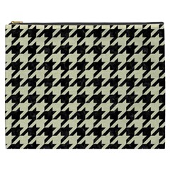 Houndstooth2 Black Marble & Beige Linen Cosmetic Bag (xxxl)  by trendistuff