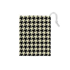Houndstooth2 Black Marble & Beige Linen Drawstring Pouches (small)  by trendistuff