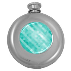 Bright Blue Turquoise Polygonal Background Round Hip Flask (5 Oz) by TastefulDesigns