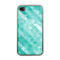 Bright Blue Turquoise Polygonal Background Apple Iphone 4 Case (clear)