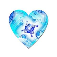 Summer Ice Flower Heart Magnet by designsbyamerianna