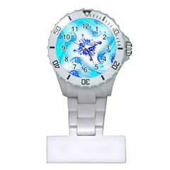 Summer Ice Flower Plastic Nurses Watch by designsbyamerianna