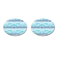 Watercolor Blue Abstract Summer Pattern Cufflinks (oval) by TastefulDesigns